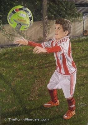 Boy Football Player Portrait Painting in Soft Pastels- The Furry Rascals, Cyprus