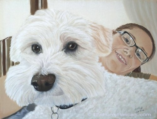 Woman and her Dog, White Terrier in soft pastels, portrait Painting - The Furry Rascals, Cyprus
