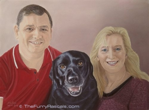 Portrait painting of a family and their Black labrador Dog in soft pastels