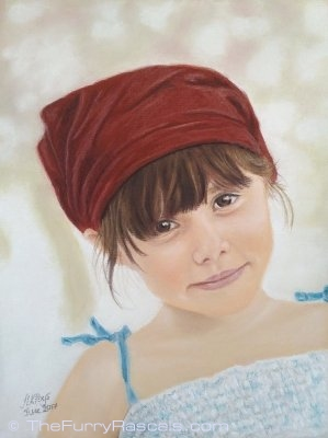 Pastel Portrait Painting of Clementine, young girl - The Furry Rascals, Cyprus
