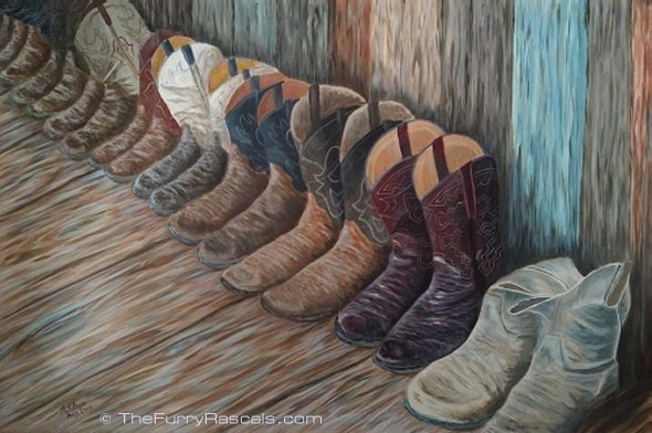 Cowboy Boots at the Ranch, Acrylics on Canvas