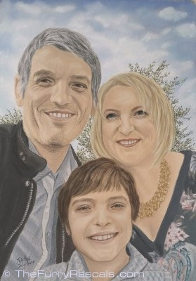 Pastel Portrait Painting of a Happy Family - The Furry Rascals, Cyprus