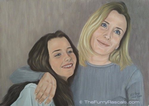 Ginetta and Shelby Portrait painting, sisters in soft pastels