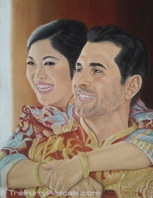 Portrait Painting of Hong Kong couple on their wedding day, in soft pastels - The Furry Rascals, Cyprus