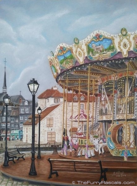 Landscape Pastel Painting of the Carousel at Honfleur Harbour, Normandy France in soft pastels - The Furry Rascals, Cyprus