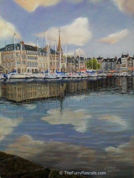 Honfleur Harbour Painting in Soft Pastels by Joanne Kane Pays  - The Furry Rascals Cyprus