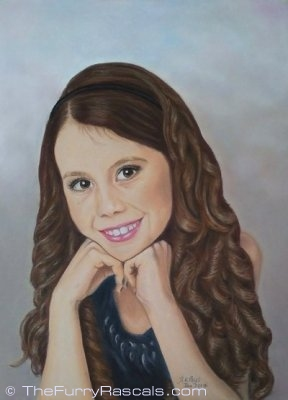 Portrait Painting of Kayleigh, young girl in soft pastels - The Furry Rascals, Cyprus