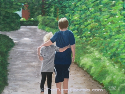 Lewis and Katie-Cyprus Gallery, painting in Acrylics by Jo