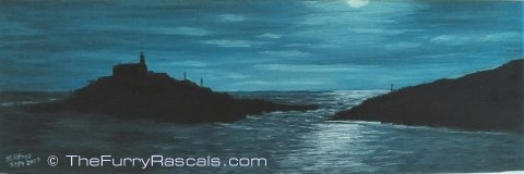 Mumbles Lighthouse under Moonlight, Oils on Canvas