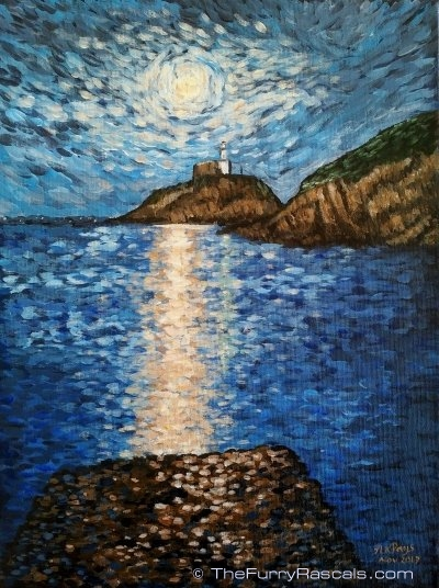 Moonlit Sky over Mumbles Lighthouse Swansea, Van Gogh Starry Night Style, Acrylics on Canvas