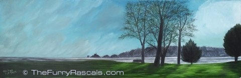 Mumbles View from Blackpill Swansea, Oils on Canvas.