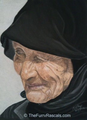 Portrait of an old woman in soft pastels - The Furry Rascals Cyprus
