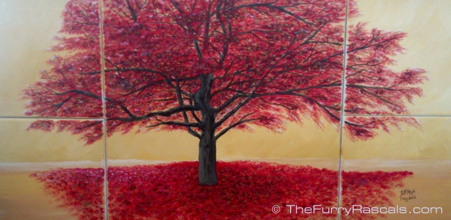 The Red Tree-Cyprus Gallery, painting in Acrylics by Jo