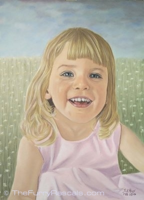 Pastel Portrait Painting of Rosie, young girl - The Furry Rascals, Cyprus