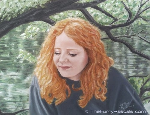 Portrait Painting of Sam, girl with beautiful red hair in soft pastels