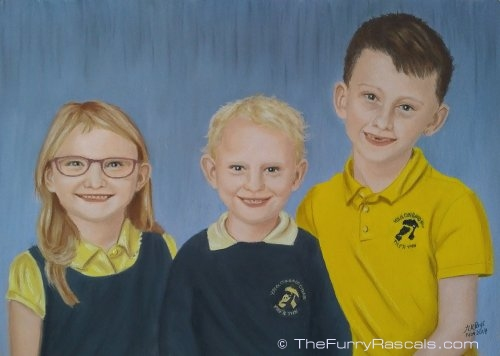 Children Portrait Painting of brothers and sister in soft pastels