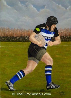 The Rugby Player Portrait in soft pastels - The Furry Rascals Cyprus