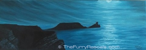 Worms Head, Rhossili, under Moonlight, Oils on Canvas