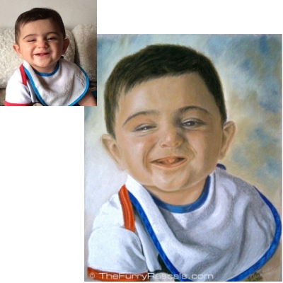 Childrens portrait in soft pastels, Christos - The Furry Rascals Cyprus